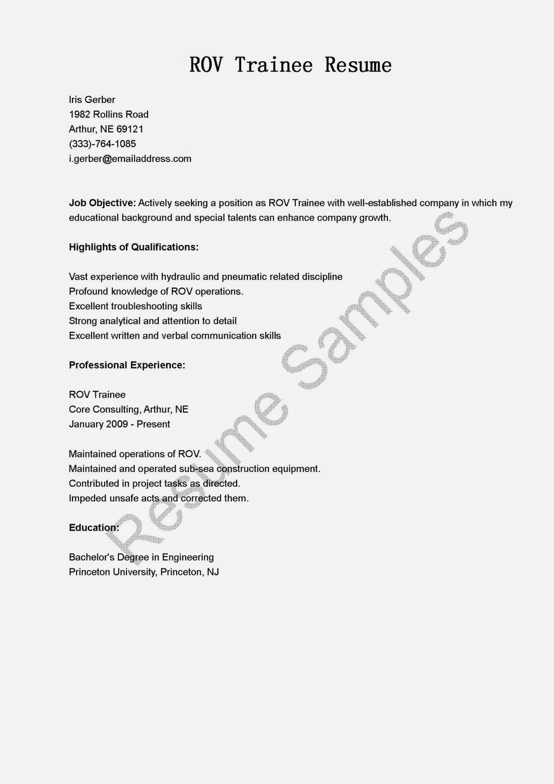 resume samples  rov trainee resume sample
