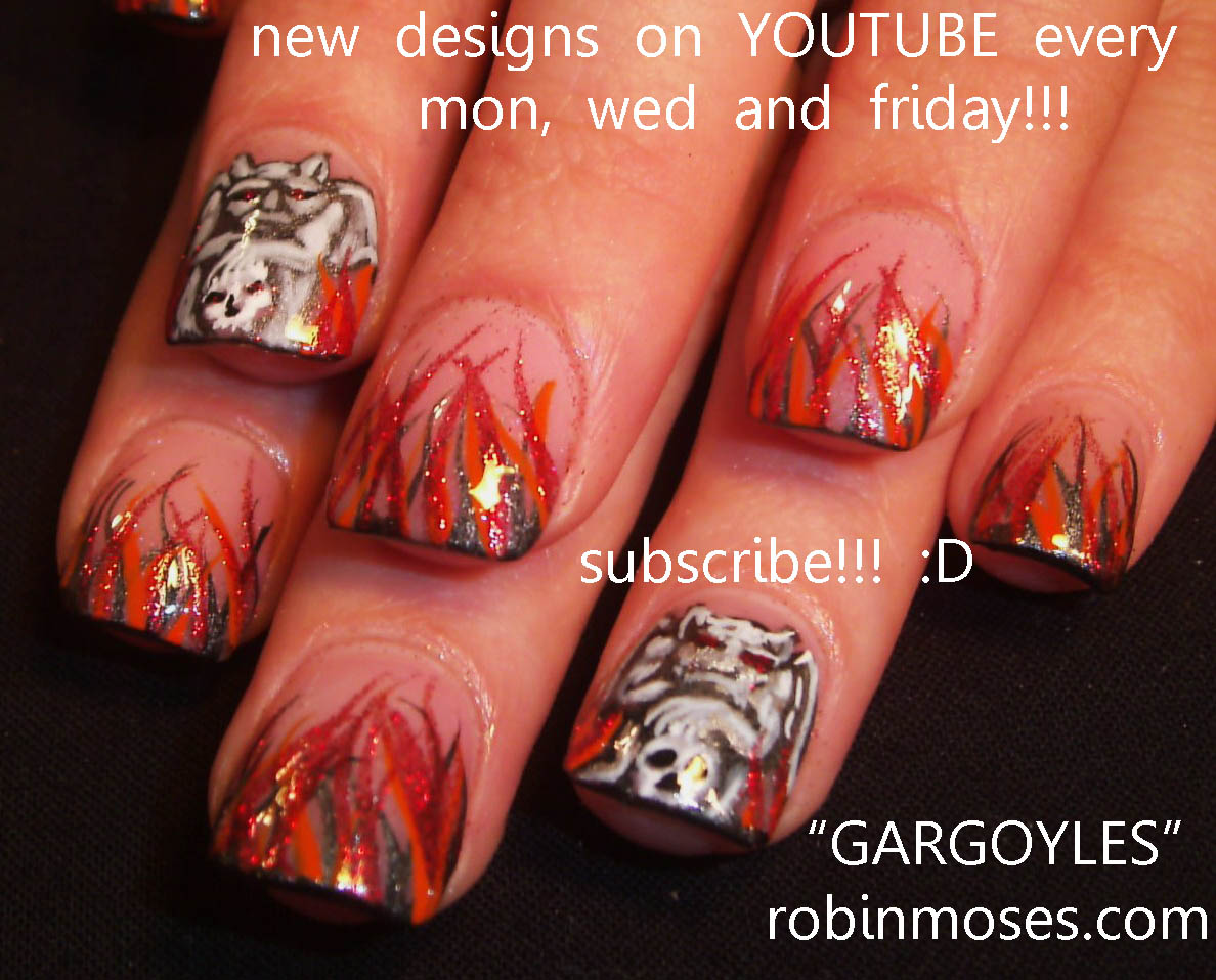 nail art flames rose