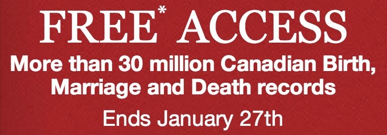 Free Access to All Canadian birth, marriage and death records.