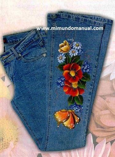 Jeans pintados a mano mimundomanual - Como pintar sobre tela ...
