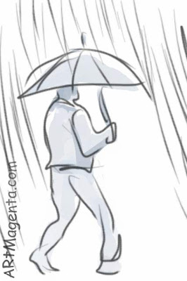 Raining cats and dogs is a gesture drawing finger painte on an iphone by artist and illustrator Artmagenta
