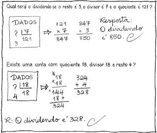 Estudo das relações entre os termos Os problemas apresentam alguns elementos e os alunos têm de calcular o que falta. Assim, eles constroem a ideia de que o dividendo é o resultado da multiplicação entre o quociente e o divisor somado ao resto.