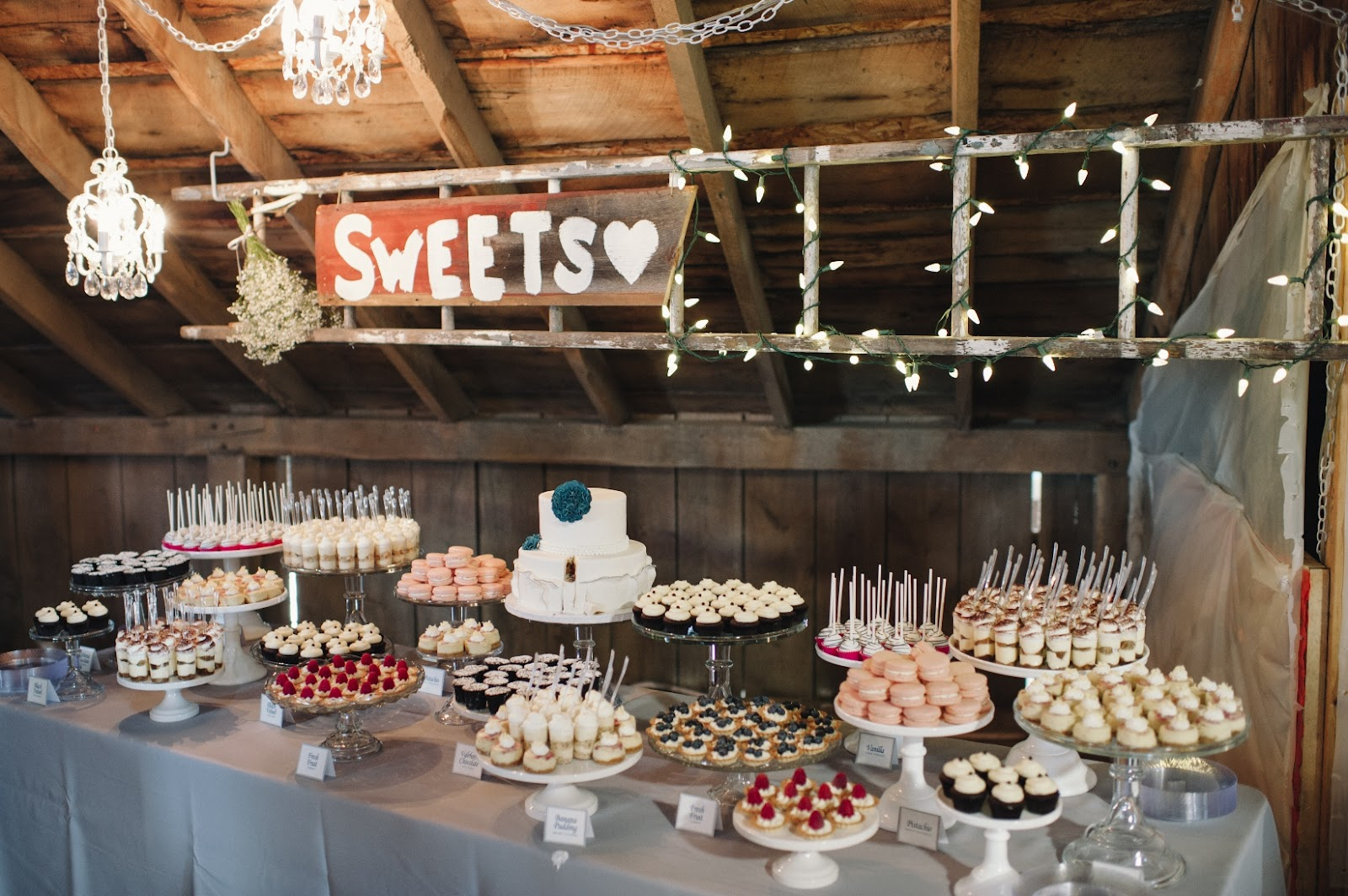 Cocoa Amp Fig Barn Wedding Mini Dessert Table And 2 Tier