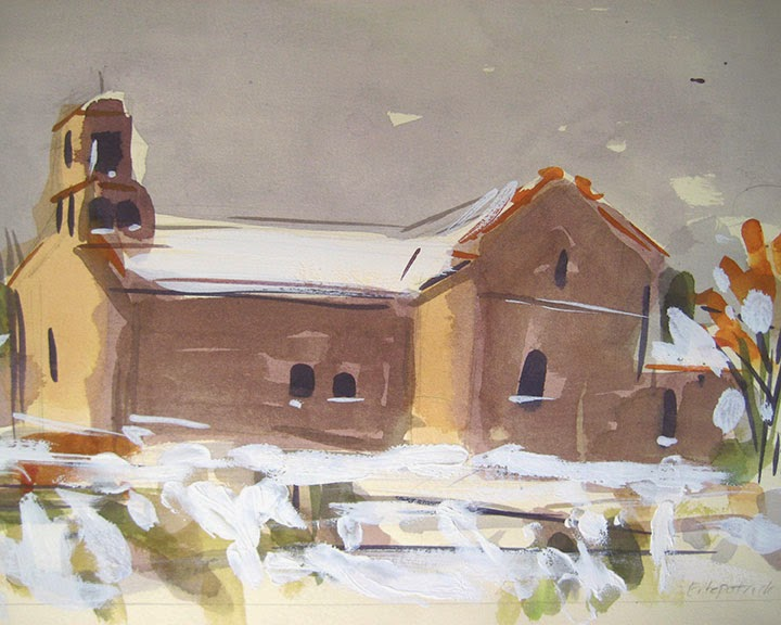Winter Church Santa Fe by Char Fitzpatrick