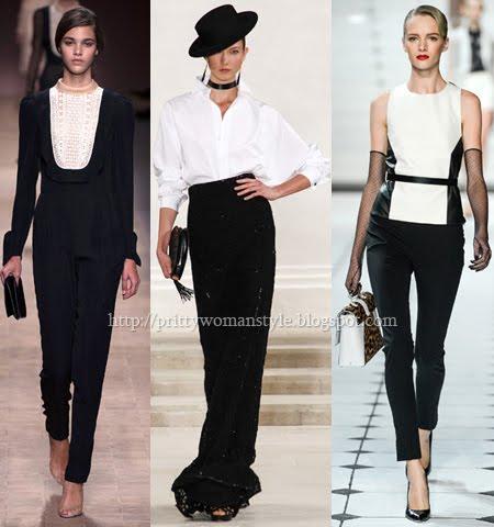 елегантни дамски дрехи в черно и бяло