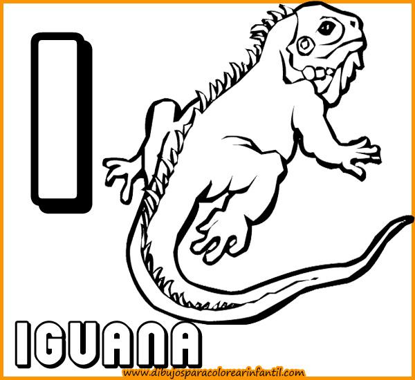 Laminas Para colorear - Abecedario de Animales para colorear: Letra I