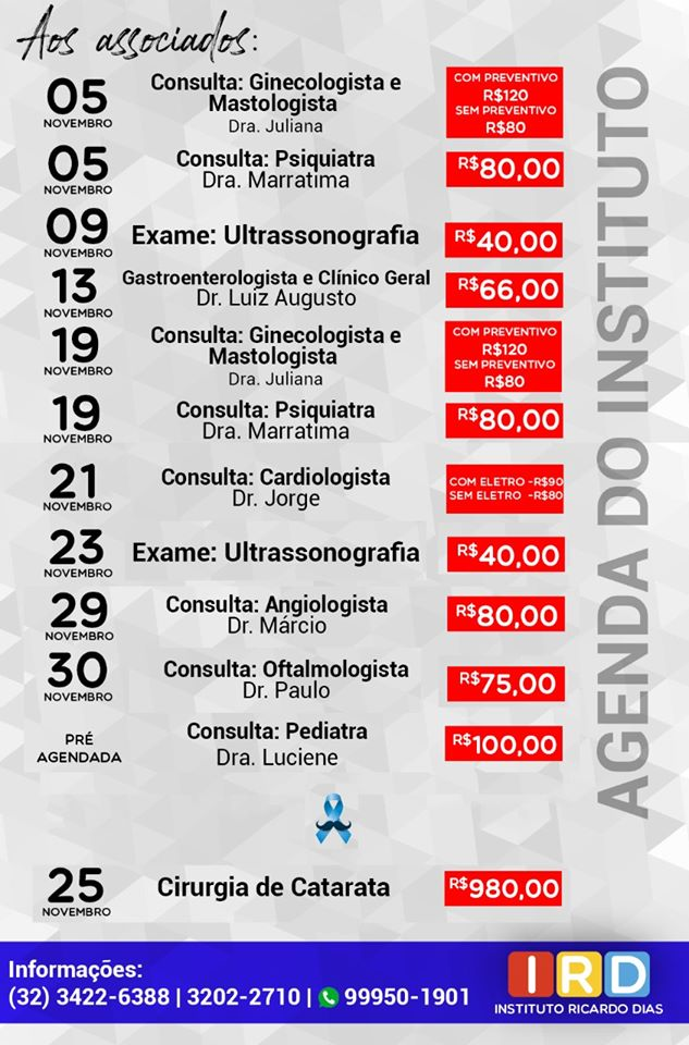 AGENDA DO INSTITUTO RICARDO DIAS
