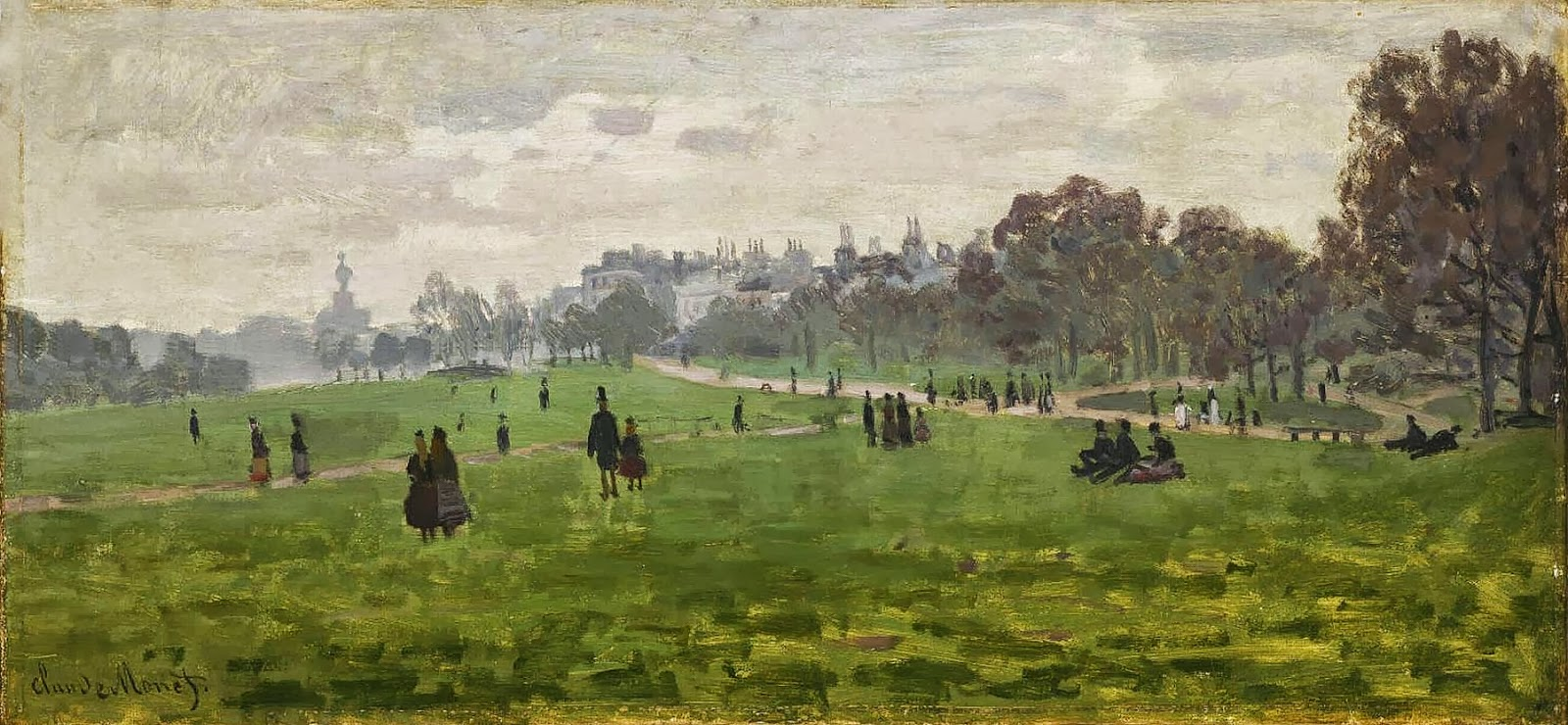 art artists claude monet part  claude monet 1871 green park oil on canvas 34 x 72 cm philadelphia museum of art pa