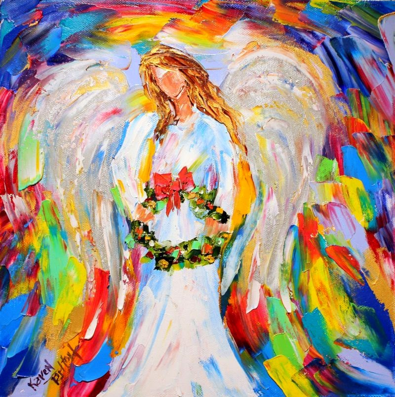 Karen tarlton original oil painting christmas angel by for Christmas images paintings