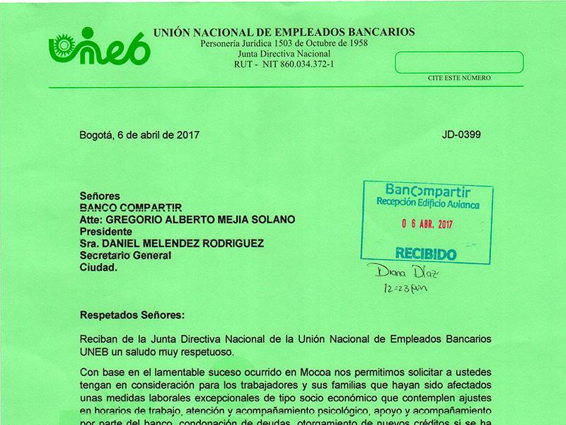 Carta de la UNEB al Banco Compartir, 6 de abril de 2017