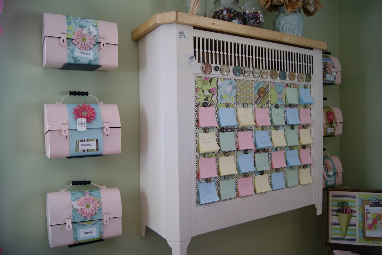 images of lunch boxes used as storage containers radiator cover turned into wallpaper