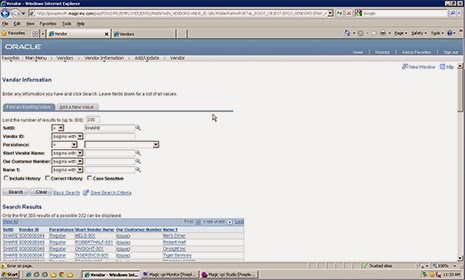 PeopleSoft Vendor Management interface