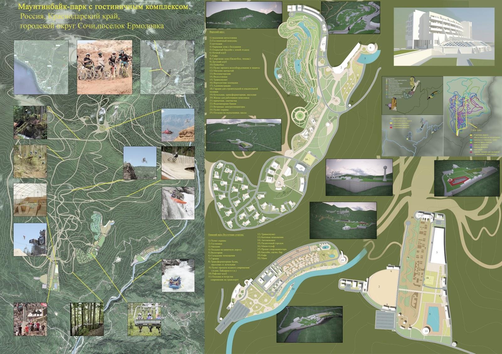 lychtown projects Маунтинбайк парк с гостиничным комплексом Дипломный проект 2012 год