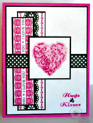 Stamps - Kitchen Sink Stamps Multi Step Sweetheart Roses, Echo Park Love Story Pattern Paper