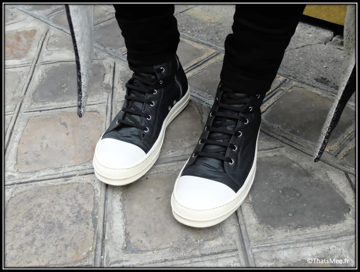 basket sneakers noires et blanches Rick Owens