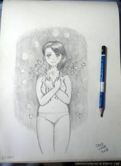 Dibujo de chica manga