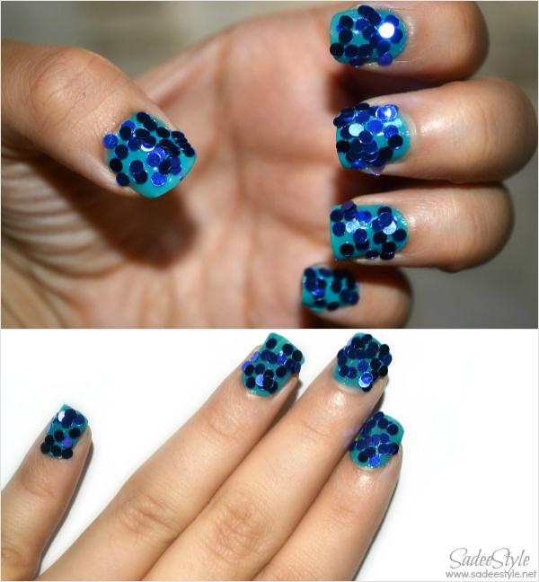 Nail Art Circle Glitters Teal and blue look
