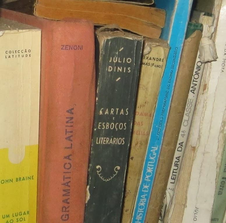 Ampliação de Fotografia macro de Estante com Livros Antigos numa Modesta Biblioteca de Família pormenor de Cartas e Esboços Literários