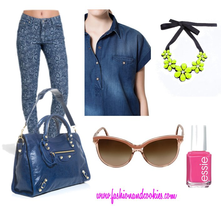Indigo blue look, Fashion and Cookies