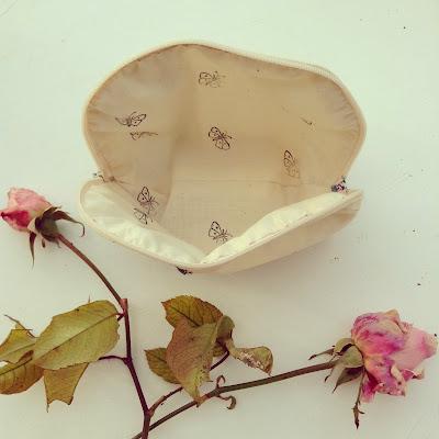 pochette doublure coton papillon tampn vintage