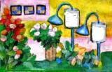 Sinar Lampu Berpendar di Antara Bunga, di atas Meja