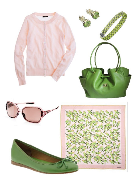 pink and mint green accessory family with a pink cardigan and green ballet flats