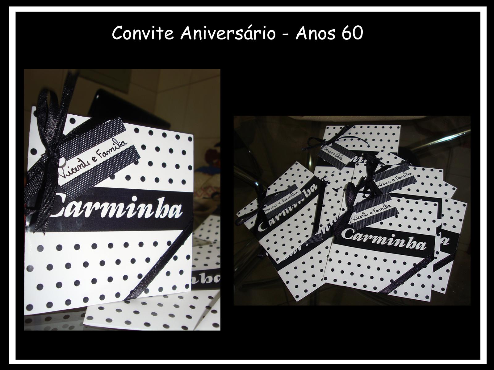 Convite de Aniversario 50 Anos Feminino Convite Aniversário Anos 60