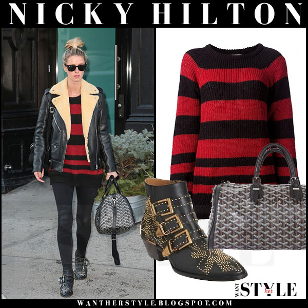 Nicky Hilton in red and black striped sweater iro barbara what she wore streetstyle