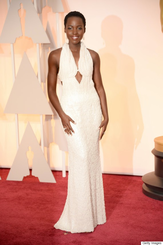 Lupita Nyong'o is glamorous in a Calvin Klein dress at the 2015 Oscars in Hollywood