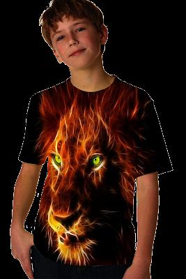 LION HEAD GRADATION KID T SHIRT DESIGN