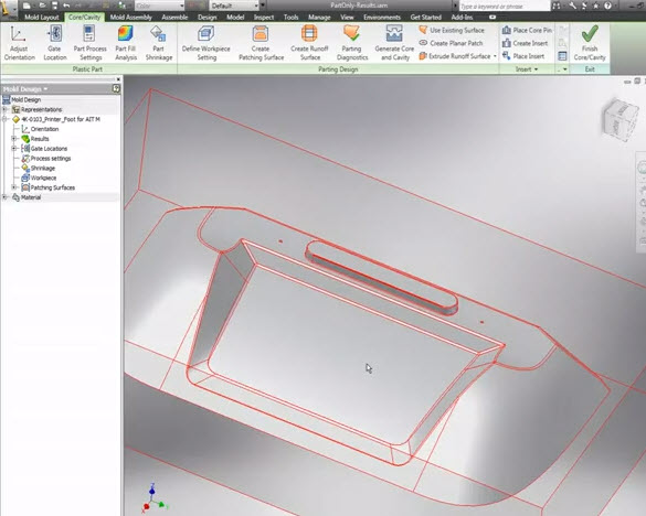 Inventor Tooling includes automated mold design tools that work directly fr