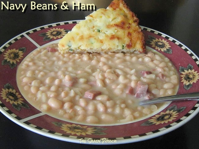 White Northern Beans and Ham served with Jalapeno Cornbread