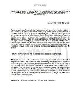 Exemplo de artigo científico elaborado com as normas adaptadas da ABNT pela instituição de ensino.