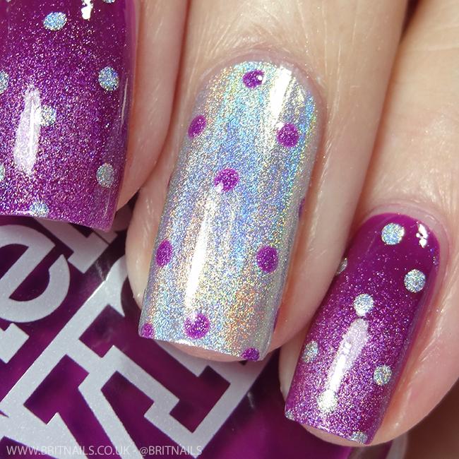 Purple Polka Dot Nail Art by @britnails