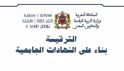 المذكرة رقم 129x15 بتاريخ 13 نونبر 2015 في شأن تنظيم مباريات مهنية للترقية بناء على الشهادات الجامعية - دجنبر 2015
