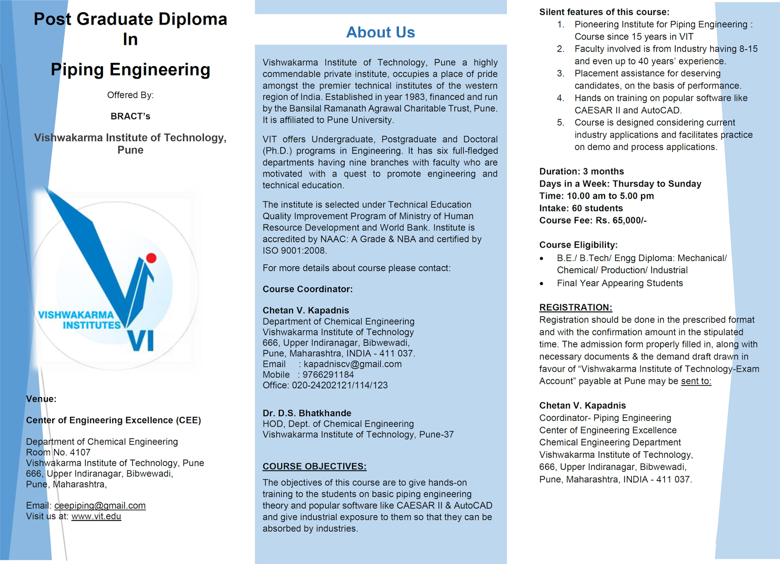 Piping Engineering Course Vit Pune Layout Brochure