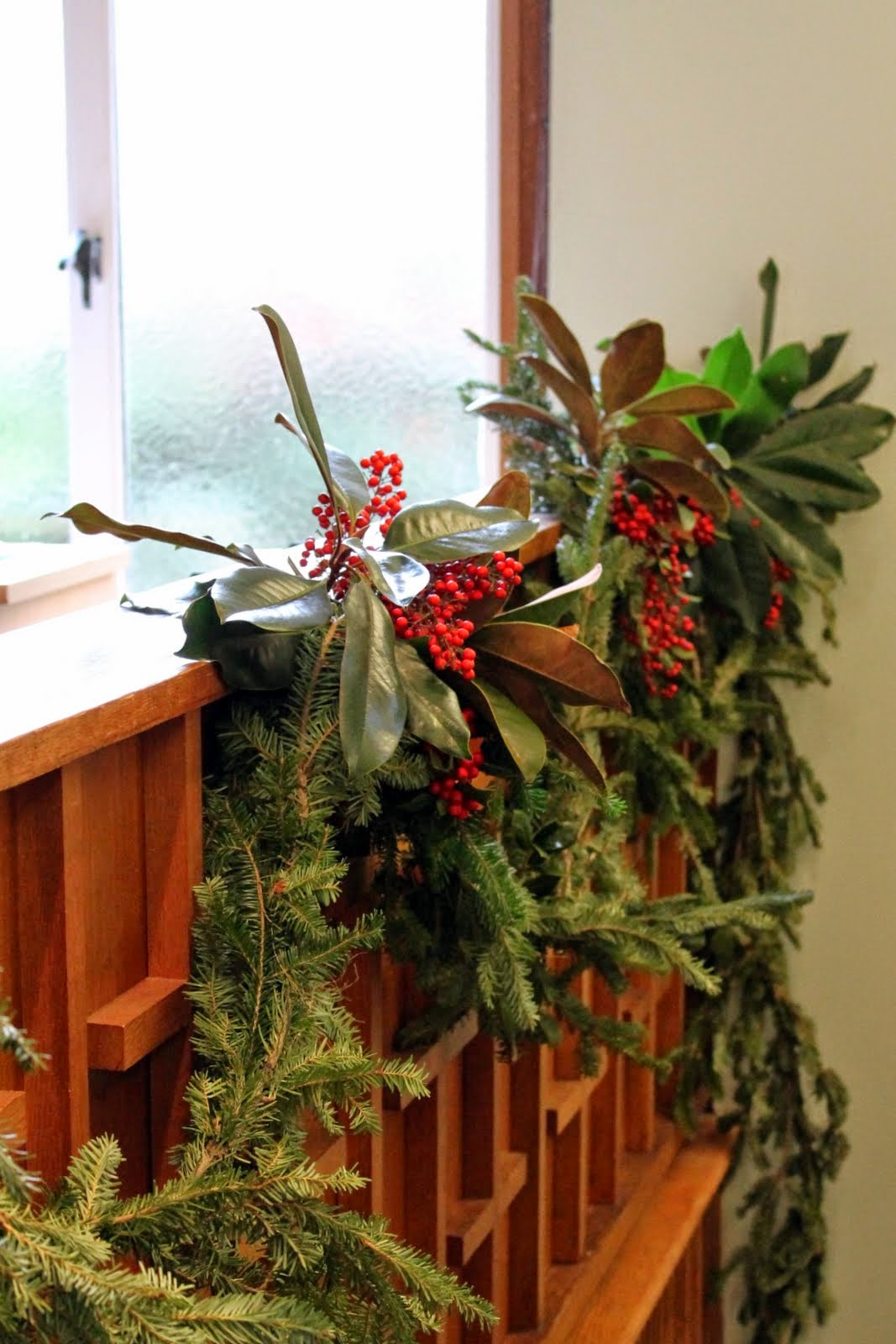 Garland of greens decorates the sanctuary