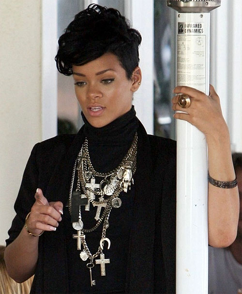Rihanna Givenchy Fall 2008 Layered Cross Necklace