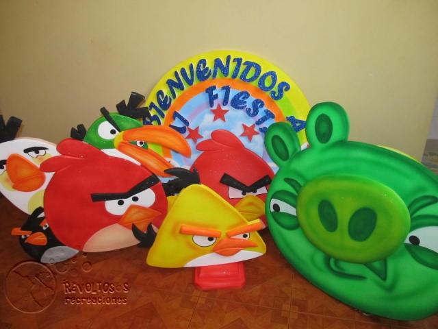 KIT DECORACION ANGRY BIRDS GLOBOS ICOPOR | Fiestas infantiles ...
