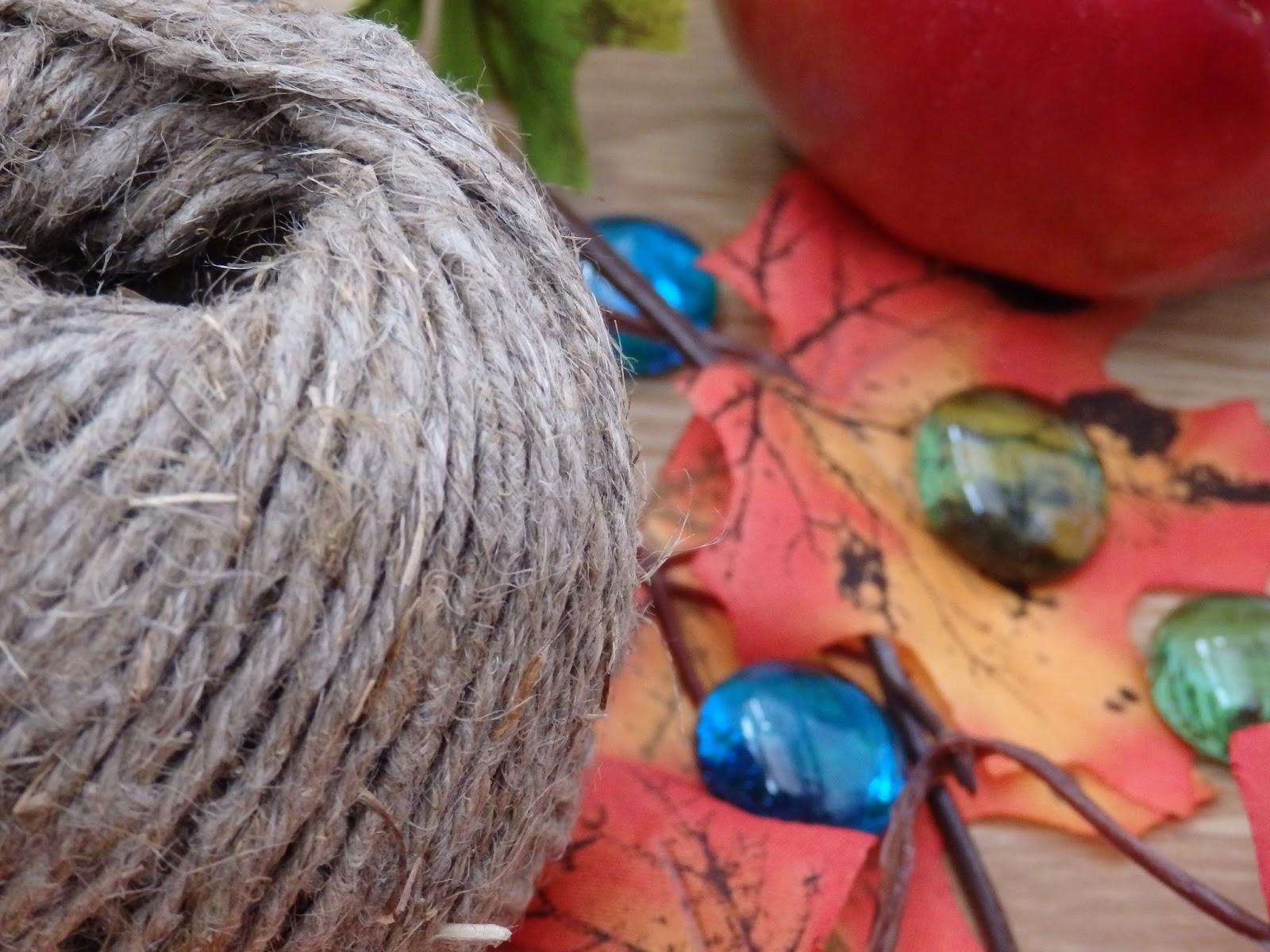осень, веревка, листья, капли