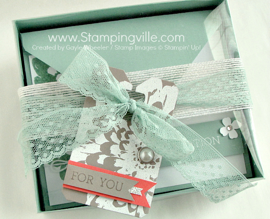 Photo image of Gift Boxed Set of All Occasion Greeting Cards with handmade heat embossed gift tag.
