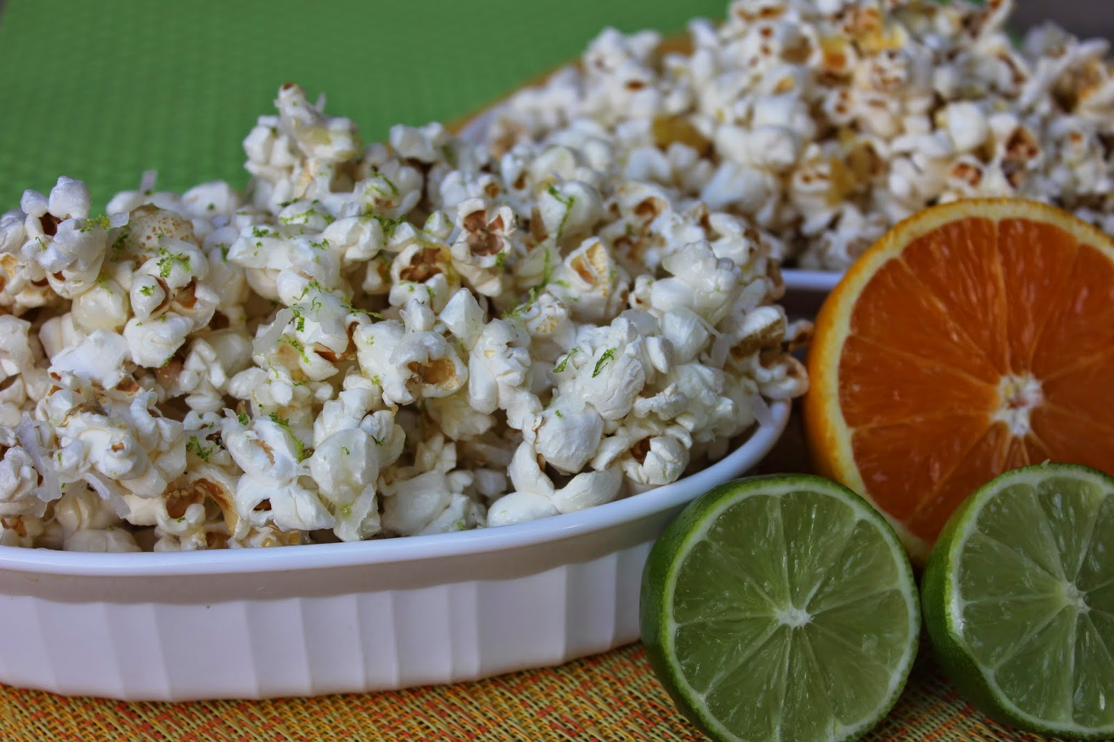 Recipe:  Snack, Recipe:  Sides, popcorn, citrus popcorn, orange popcorn, sweet and salty orange vanilla popcorn, sweet popcorn, Deals to Meals,