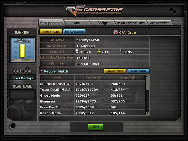 Di jual char game Cross Fire Pangkat Captain Grade 6 Harga 150K full inventori - COD Bekasi