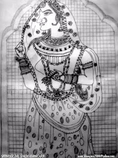 Ancient Indian art - sketch by Satinder pal Singh