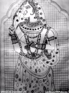 Ancient Indian art - sketch by Satinder pal Singh