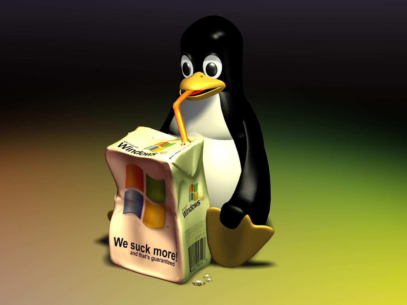 http://4.bp.blogspot.com/-cGVi3DKUhT0/TasgmMNhS-I/AAAAAAAAABA/UhoxekXQIDg/s1600/linux-wallpaper--1600x1200--tux-we-suck-more.jpg