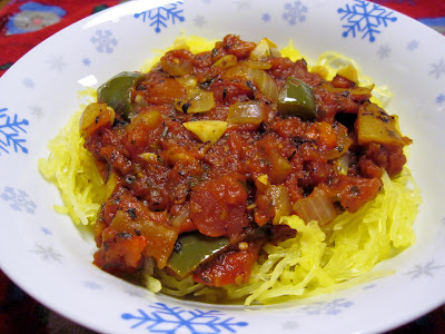 spaghetti squash with roasted tomato sauce