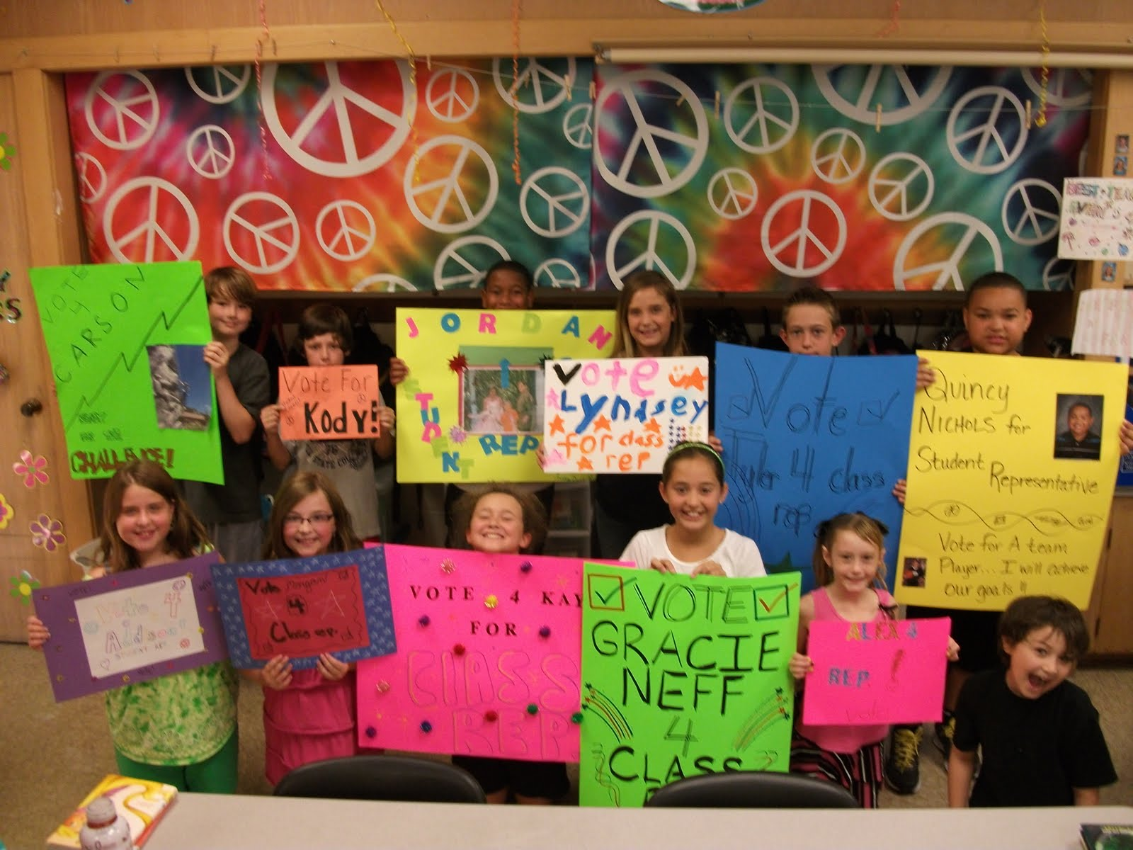 each student who ran for student council created a campaign poster to ...