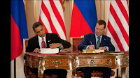 President Obama and Russian President Medvedev sign the New Strategic Arms Reduction Treaty (START).