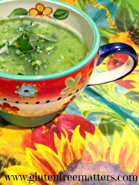 Spring Greens soup in a soup bowl
